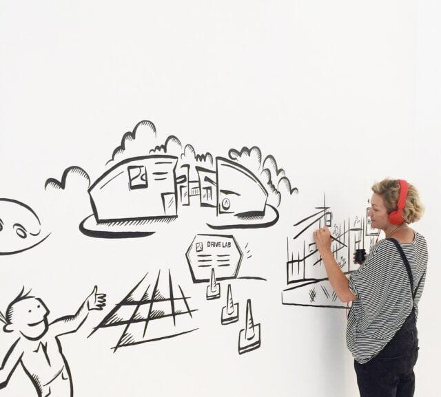 Väggmålning på Training Partner Nordic AB i Arlandastad