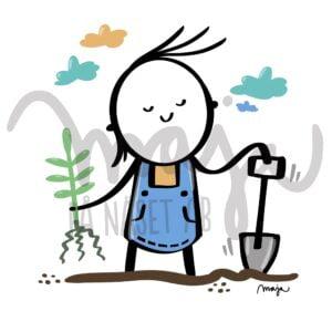 illustration-bildbank-plantera-trädgård